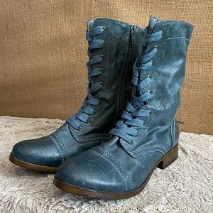 NWOT Mossimo blue/green combat boots